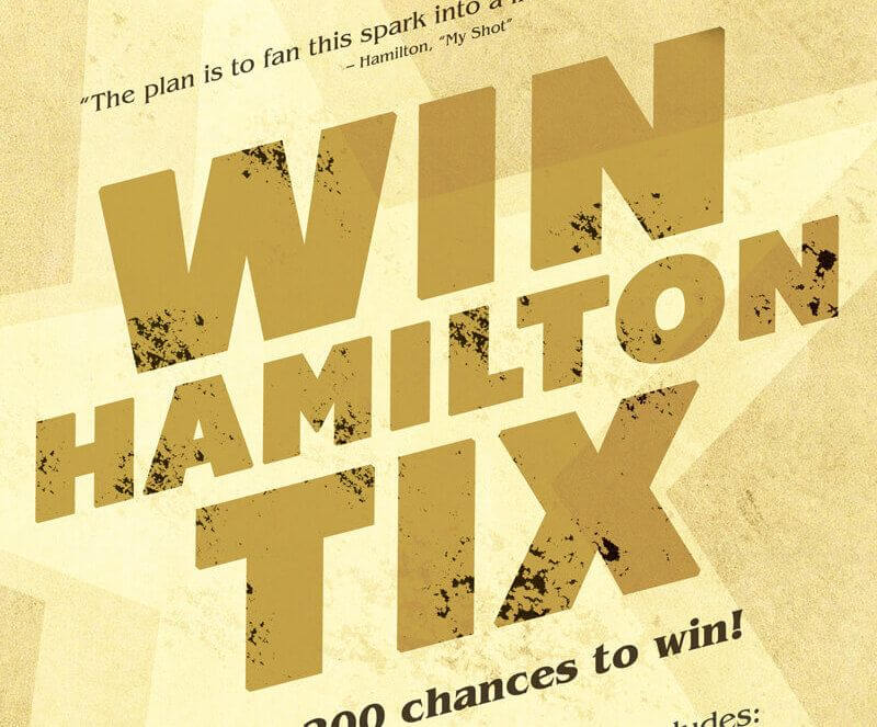 Ticket Raffle to See Hamilton on Broadway!